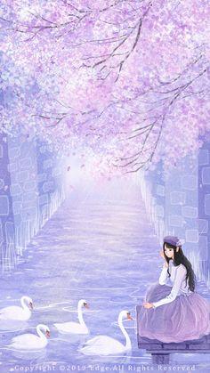Cartoon Girl Images, Cute Cartoon Girl, Anime Girl Cute, Anime Art Girl, Cute Galaxy Wallpaper, Cute Girl Wallpaper, Anime Backgrounds Wallpapers, Anime Scenery Wallpaper, Beautiful Landscape Wallpaper