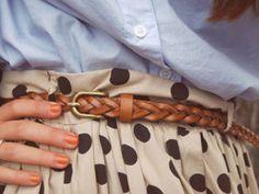 Polka Dot Skirt + Blue Button-Up