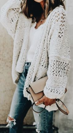 chunky knit cardigans + white v neck tee + distressed denim. + chloe faye crossbody bag | #ootd #outfit