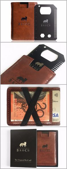 BroCo - The Original BroCard - Titanium Multitool Card (Black) with Slim Leather Wallet (Brown) - Everyday Carry Gear