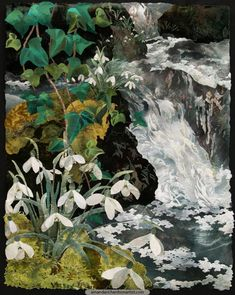 Snowdrops Beside Waterfall, textile collage by Amanda Richardson