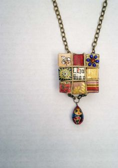 Nesting Doll Recycled Paper Eco Chic Necklace Red by cocodelayinc, $34.00