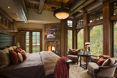 Bedroom Design Ideas, Pictures, Remodels and Decor, rustic, exposed beams, big window, corner fireplace!