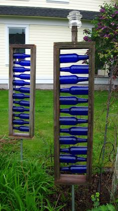 blue bottle garden art