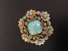 Rare-Vintage-Miriam-Haskell-Brooch-Pin-Signed-Turquoise-Goldtone