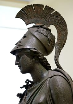 "Statue of Athene (""The Peiraeus Athena""). Medium: Bronze Date: BCE. Athens, Archaeological Museum of Piraeus Ancient Greek Sculpture, Ancient Greek Art, Ancient Greece, Ancient History, Art Sculpture, Bronze Sculpture, Statues, Greek Mythology Tattoos, Greek Gods"