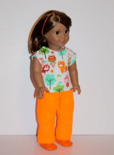 """AG Doll Clothes, Fleece Pants and Top Set Fits 18"""" Doll, Doll Clothes, Firts 18 Inch Doll like American Girl Dolls"""