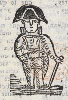 Xilografía en cabecera de un hombre de pie con sombrero bicornio y bastón.