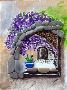 Lilas/by Füsun Dilli - Ariana Pebble Stone, Pebble Art, Stone Art, Mandala Painting, Stone Painting, House Painting, Stone Crafts, Rock Crafts, Rock And Pebbles