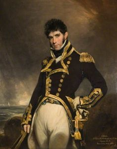 Captain Gilbert Heathcote by William Owen c.1800-1805 - Heathcote (December 1779 - April 1831) was the son of Sir William Heathcote, 3rd Bt. and Frances Thorpe. He married Anne Lyell, daughter of Charles Lyell of Kinnordy and Mary Beale, in February 1809. He gained the rank of Captain in the service of the Royal Navy, and died at age 51.