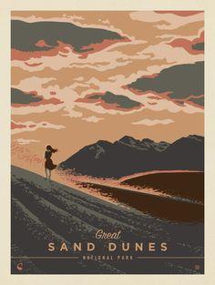 Great Sand Dunes National Park: Windswept   Anderson Design Group National Park Posters, National Parks, Graphic Design Illustration, Graphic Art, Poster Festival, Poster Retro, Design Brochure, Nature Posters, Parcs