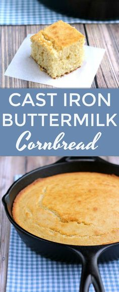 won't find a dry crumb in this delicious Cast Iron Buttermilk Cornbread. The perfect side to any southern meal!You won't find a dry crumb in this delicious Cast Iron Buttermilk Cornbread. The perfect side to any southern meal! Cast Iron Skillet Cornbread, Cast Iron Skillet Cooking, Iron Skillet Recipes, Cast Iron Recipes, Corn Bread Cast Iron, Skillet Dinners, Southern Cornbread Recipe, Southern Recipes, Cornbread Recipes