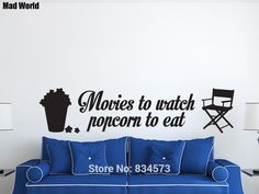 Mad World-CINEMA Movies Popcorn Eat Film Wall Art Stickers Wall Decal Home DIY Decoration Removable Room Decor Wall Stickers #Affiliate