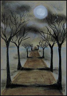 Le chemin sombre. Couleur sombre, pleine lune, éclaire... Cette toile représente soit l'émotion de la peur ou de la tristesse.