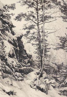 Fantastic winter landscape by Russian Alexandre Mokhov Landscape Pencil Drawings, Landscape Sketch, Landscape Illustration, Landscape Art, Landscape Paintings, Illustration Art, Graphite Drawings, Ink Pen Drawings, Realistic Drawings