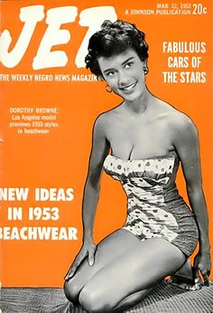 Los Angeles Model Dorothy Browne Shows 1953 Beachwear - Jet Magazine, March 1953
