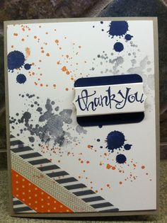Stampin Up Gorgeous Grunge masculine thank you card.