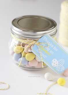 13 mason jar crafts for easter that would make the easter bunny free easter printble tag on iheartnaptime thanks for being an eggcellent friend negle Choice Image