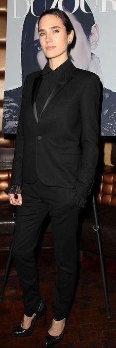 Jennifer Connelly: Jacket and pants – Saint Laurent by Hedi Slimane  Jewelry – Jacque Aiche