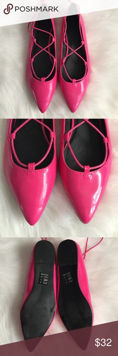 Asos hot pink lace up flats patent leather  8/9 Worn one time. Great condition. Shoe size says 8, but I wear a 9/9.5 and they fit me. No box ASOS Shoes Flats & Loafers