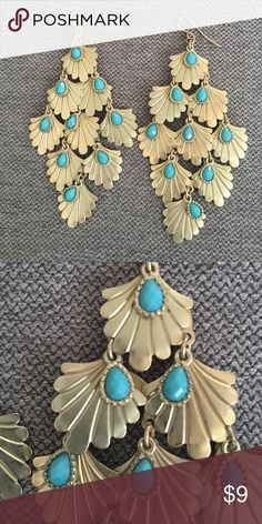 """HP Dangly earrings Feminine and fun dangly earrings. Each has 10 gold colored leaves with turquoise stone detail. Measure 3.25"""" long and 2"""" across at widest. Jewelry Earrings"""