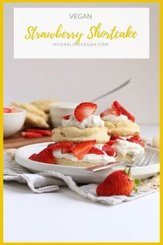 This simple Vegan Strawberry Shortcake is made with cream biscuits, fresh strawberries, and coconut whipped cream for an easy springtime dessert. Healthy Vegan Desserts, Vegan Dessert Recipes, Delicious Vegan Recipes, Vegan Sweets, Cake Recipes, Vegan Food, Food Food, Dinner Recipes, Yummy Food