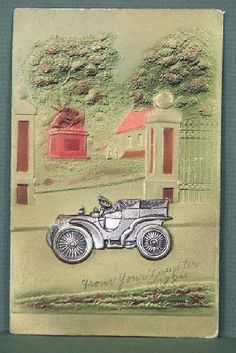 icollect247.com Online Vintage Antiques and Collectables - Embossed automobile postcard 1900s -1910s Paper