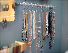 Necklace storage...hand towel bar and shower hooks