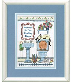 Dimensions Reading Room Welcome Stamped Cross Stitch Kit. Accent your powder room with this cute stamped cross stitch cat. Kitty has found a nice, cool spot to  -- **********  123Stitch.com ******************