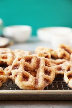 Vanilla Cinnamon Sugar Churro Waffle Doughnuts taste just like churros but are made in a waffle iron instead of fried! They're super tasty and easy to make! Churro Waffles, Pancakes And Waffles, Yummy Treats, Sweet Treats, Yummy Food, Falafel Waffle, Donuts, Just Desserts, Dessert Recipes