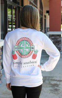610d6730357 Simply Southern Long sleeve tee. Model is 5 3