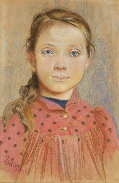 Dziewczynka w czerwonej sukience w grochy - Stanisław Wyspiański