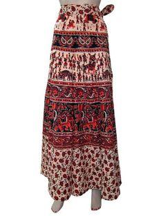 Amazon.com: Long Skirt, Tribal Elephant Floral Print Gypsy Cotton Wrap Skirts Dress: Clothing
