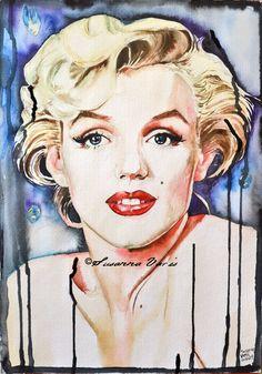 Dark Marilyn - Marilyn Monroe by Susanna Varis water color 2011