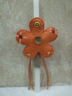 Χειροποίητη λαμπάδα πορτοκαλί λουλούδι! http://goo.gl/IsKgvK