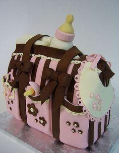 Baby girl diaper bag baby shower cake! love this!