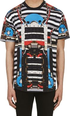 Givenchy Black  Grey Robot Graphic Tee SS 2014