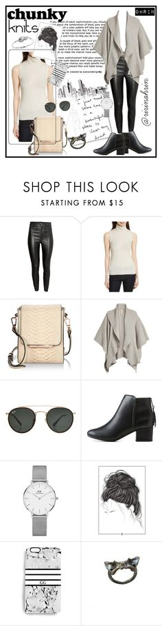 """chunky knits in black & white"" by rindularas on Polyvore featuring H&M, Theory, Kendall + Kylie, Burberry, Ray-Ban, City Classified, Daniel Wellington, Rianna Phillips, BlackWhite and knits"
