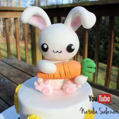 Kawii rabbit fondant cake topper Rice Krispies, Rabbit Cake, Bunny Party, Sugar Paste, Cake Toppers, Fondant, My Etsy Shop, Milkshakes, Cool Stuff