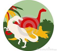 Illustration of a tyrannosaurus, brontosaurus and triceratops round background