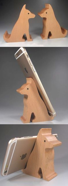 Wooden Dog Shaped Mobile Phone iPad Holder Stand. Maybe make it a doorstopper?