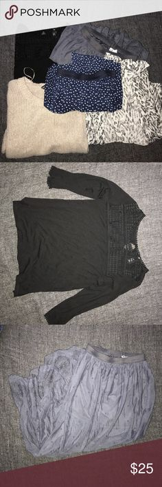 Divided (H&M) bundle Bundle of 5 items sold AS IS. Black shirt XS, gray skirt size 4, blue skirt size 4, tan sweater size 8, black & white cardigan size XS (has a small snag shown in pic). H&M Other