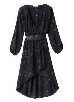 Aristotle Faux-Wrap Dress -Ultra-flattering with a plunging crossover v-neck, topstitched leather waistband, and high-low hemline, this long-sleeved silk dress is printed with an inky celestial print.(lethimydung-fd1a1)