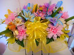 Cemetery Flower Arrangements, Headstone Saddle Flowers, Tombstone Saddle Flower Arrangement, Gravestone Deco Mesh Silk Floral Decoration by MimisSparkledDesigns on Etsy