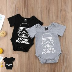 Newborn Storm Pooper Rompers which are creative and funny. They are stylish and healthy which are made of 100% cotton. It is made of high quality material, soft hand feeling. Perfect as a baby shower gift. Suitable up to 18 months old babies. Baby Outfits, Kids Outfits, Star Wars Baby, Jumpsuits For Girls, Girls Rompers, Baby Rompers, Baby Girl Romper, Baby Boy Newborn, Baby Baby