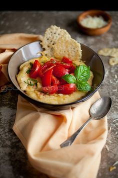 polenta with fresh tomatoes and parmesan crisps