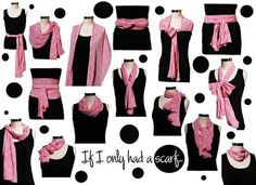 Wearing a pretty scarf can change any look in a instant. I love a good scarf around my neck, but I also can't resist the way it also looks . Ways To Tie Scarves, Ways To Wear A Scarf, How To Wear Scarves, Silk Scarves, Wearing Scarves, Knit Scarves, Look Fashion, Diy Fashion, Ideias Fashion