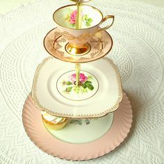 3 Tier Pink Alice in Wonderland cupcake or tea stand, part of our ongoing Pink Party series