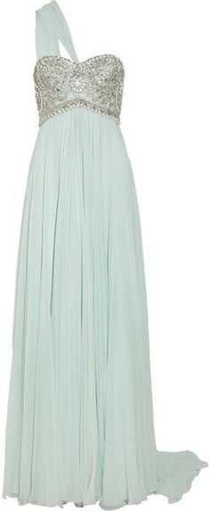 Marchesa Embellished Silk Chiffon Gown in Mint... this is the second non-white…
