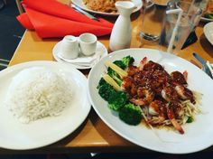 Teriyaki shrimp & veggies, white rice
